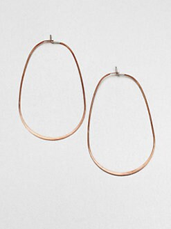 Michael Kors - Rose Goldtone Stainless Steel Oval Hoop Earrings