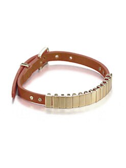 Michael Kors - Rectangular Slide Bead Leather Bracelet/Goldtone
