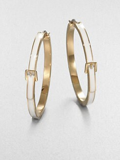 Michael Kors - White Epoxy Goldtone Steel Hoop Earrings