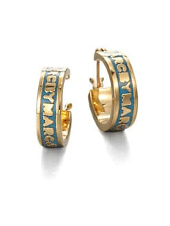 Marc by Marc Jacobs - Enamel Logo Huggie Earrings