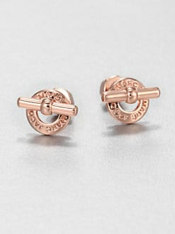 Marc by Marc Jacobs - Logo Toggle Stud Earrings/Rose Goldtone