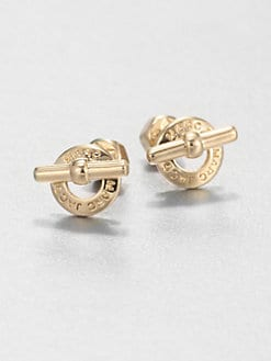 Marc by Marc Jacobs - Logo Toggle Stud Earrings/Goldtone