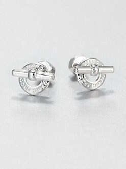 Marc by Marc Jacobs - Logo Toggle Stud Earrings/Silvertone