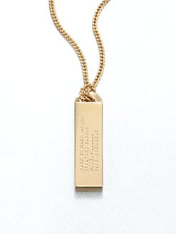 Marc by Marc Jacobs - ID Tag Pendant Necklace/10K Goldplated