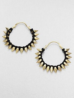 A.L.C. - Thread Wrapped Spiked Hoop Earrings