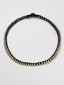 A.L.C. - Tri-Tone Thread Wrapped Spiked Necklace