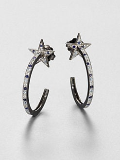 M.C.L by Matthew Campbell Laurenza - Sapphire and Sterling Silver Star Hoop Earrings/3