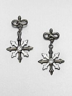 M.C.L by Matthew Campbell Laurenza - White Topaz, Enamel and Sterling Silver Earrings