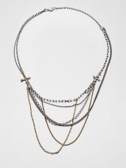 Bing Bang - Mixed Chain Cross Bib Necklace
