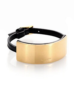 Saint Laurent - Brass Plaque and Leather Bracelet