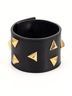Saint Laurent - Studded Wide Leather Bracelet