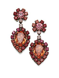 DANNIJO - Cruz Faceted Drop Earrings/Pink