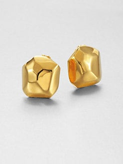 Kenneth Jay Lane - Polished Goldtone Nugget Earrings