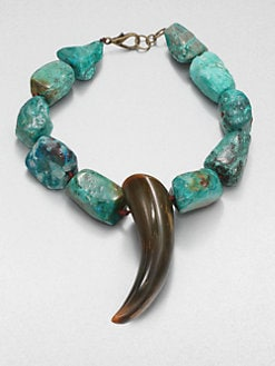 Nest - Chrysocolla and Horn Necklace