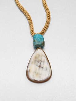 Nest - Blonde Horn and Chrysocolla Necklace