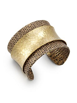Kara by Kara Ross - Wide Washed Lizard & Hammered Plate Cuff