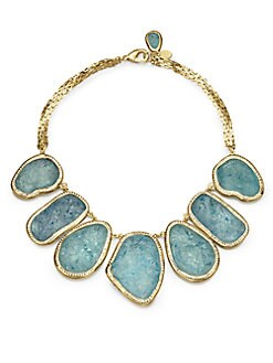 Kara by Kara Ross - Textured Stone Bib Necklace