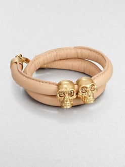 Alexander McQueen - Double Skull Leather Wrap Bracelet