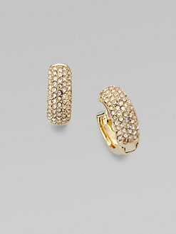Michael Kors - Stone Encrusted Huggie Hoop Earrings/Goldtone
