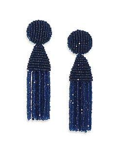 Oscar de la Renta - Short Beaded Tassel Clip-On Earrings
