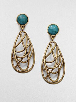 Oscar de la Renta - Turquoise and Quartz Drop Earrings