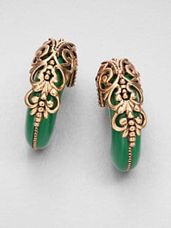 Oscar de la Renta - Resin Filigree J-Hoop Earrings