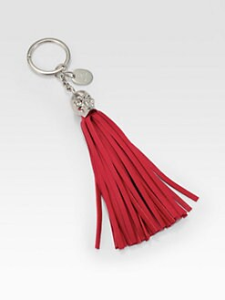 Alexander McQueen - Leather Tassel Skull Key Ring/Red