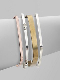 Bing Bang - Tri-Tone Square Bangle Bracelet Set