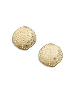 ABS by Allen Schwartz Jewelry - Sparkle Shell-Shaped Button Earrings
