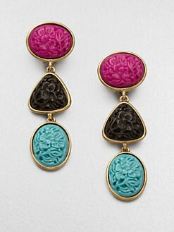 Oscar de la Renta - Tri-Color Drop Earrings