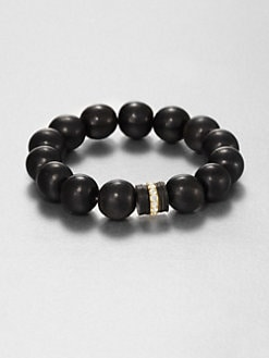 Elizabeth and James - Black Horn and White Topaz Bead Bracelet