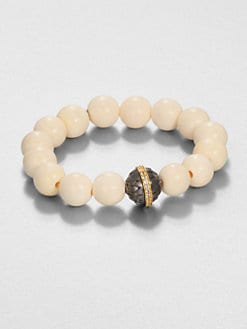 Elizabeth and James - Bone and White Topaz Bead Bracelet