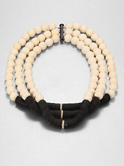 Elizabeth and James - Bone Bead and Disc Necklace