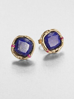 Elizabeth and James - Lapis and Ruby Earrings