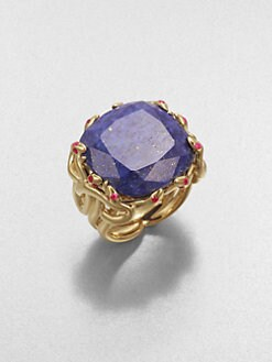 Elizabeth and James - Lapis and Ruby Snake Ring