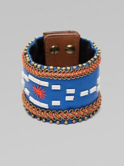 Fiona Paxton - Stitched Leather and Chain Bracelet