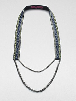 Fiona Paxton - Beaded Leather and Chain Necklace