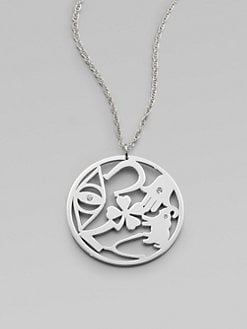 Jennifer Zeuner Jewelry - Diamond Accented Good Luck Circle Pendant Necklace