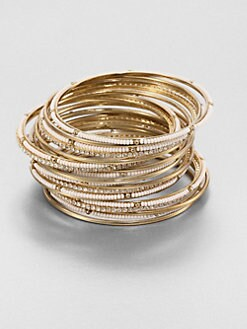 ABS by Allen Schwartz Jewelry - Embellished Bangle Bracelet Set/Nude