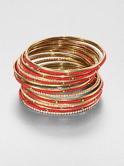 ABS by Allen Schwartz Jewelry - Embellished Bangle Bracelet Set/Red