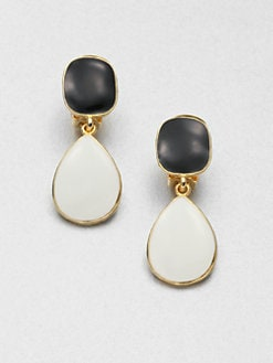 Kenneth Jay Lane - Contrast Clip-On Drop Earrings