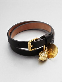 Alexander McQueen - Skull Accented Double Wrap Leather Bracelet