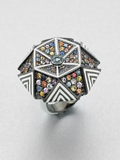 M.C.L by Matthew Campbell Laurenza - Enamel & Semi-Precious Multi-Stone Hexagon Ring