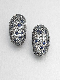 M.C.L by Matthew Campbell Laurenza - Pavé Multi-Colored Sapphire Oval Earrings