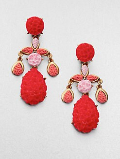 Oscar de la Renta - Textured Clip-On Chandelier Earrings