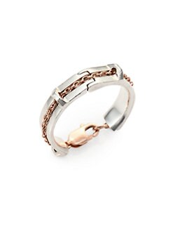 Bliss Lau - Caveat 14K Rose Gold & Sterling Silver Chain Ring