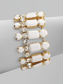 Vionnet - Wide Crystal Accented Bracelet