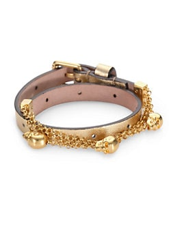 Alexander McQueen - Double Wrap Leather & Chain Charm Bracelet