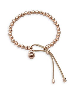 Michael Kors - Leather Accented Beaded Bracelet/Rose Goldtone