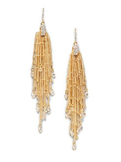 ABS by Allen Schwartz Jewelry - Glass-Accented Chain Drop Earrings